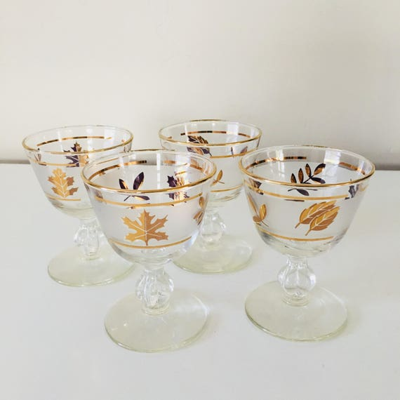 Vintage Gold Leaf Champagne Glasses Set of (4) Mid Century Modern Gold Foliage Frosted Coupe Stemware
