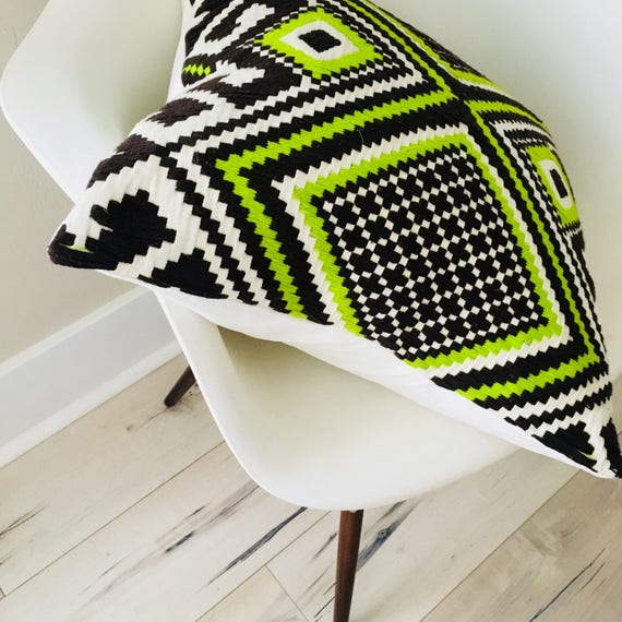 "Boho Green Tribal Pillow Cover20""x20"" Square Cushion Pillow Ethnic Bohemian Chartreuse Green Brown Embroidered Geometric Motif"