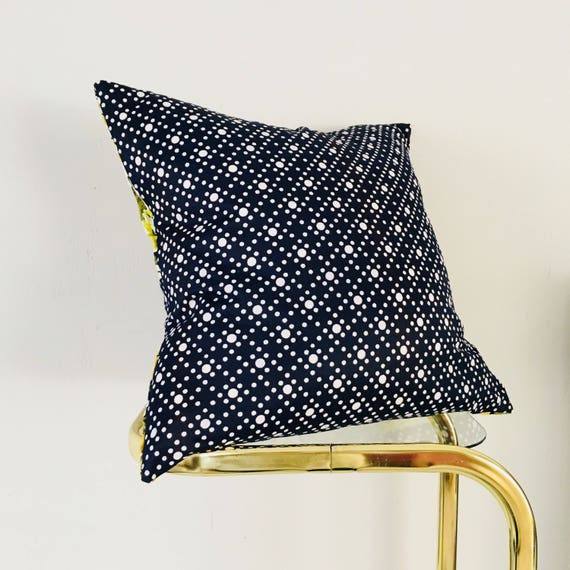 "SALE Vintage Navy Blue Polka Dot Pillow Cover 18'x18"" Square Cushion Cover Yellow Rose Floral Avocado Green Flowers"