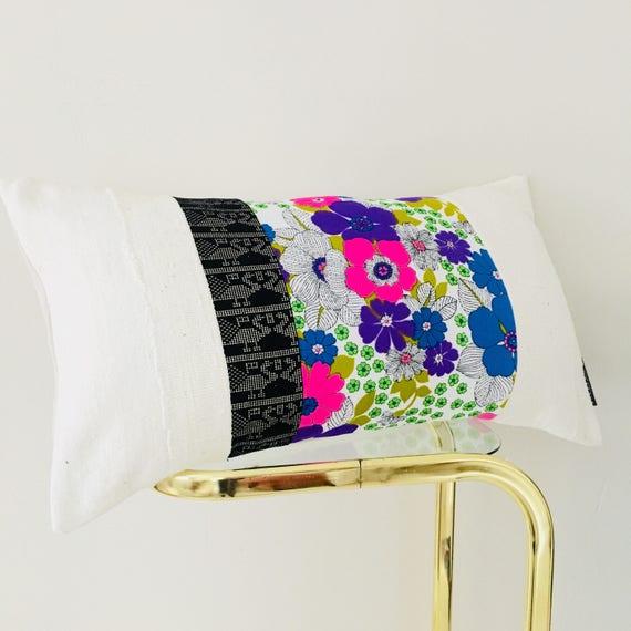 "Retro Pink Floral Pillow Cover 14""x24"" Lumbar Cushion Pillow Vintage Blue Green Flowers Black Metallic Gold Tribal White Mudcloth Pillow"