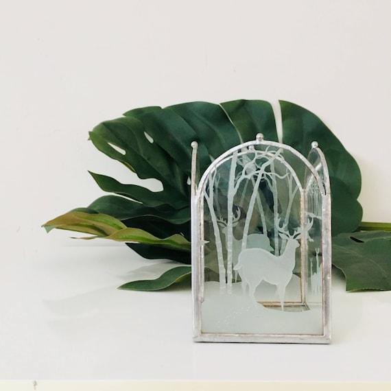 Vintage Glass Deer Votive Froasted Glass Panels of Woodland Deer in Forrest Lead Trimmed Mirror Base Candle Holder