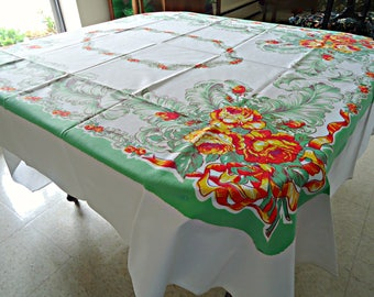Tablecloth Vintage White Green Orange Floral Large Tablecloth Table Cloth