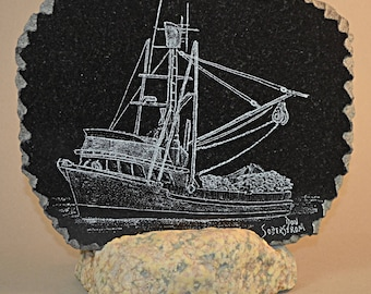 Commercial fishing boat hand etched on black granite