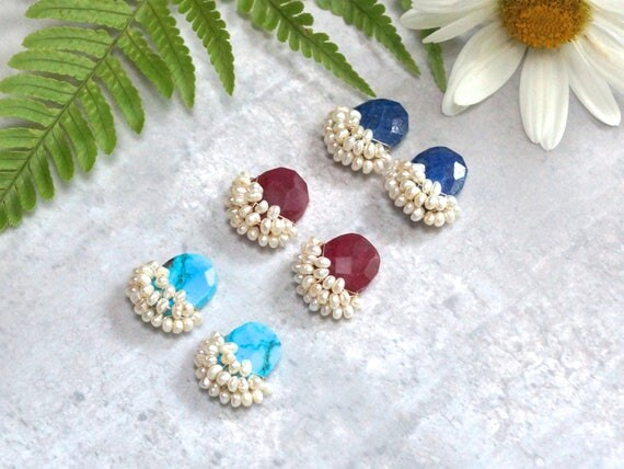 Large cluster stud earrings - gemstone & freshwater pearl