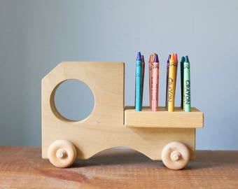 Vintage Natural Wooden Truck Shaped Crayon Holder | Nursery Decor