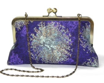 Elegant Clutch - Floral in purple, gold and seafoam green - Brass kisslock frame with chain