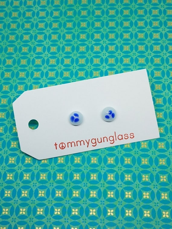 Small Blue and White Glass Earrings