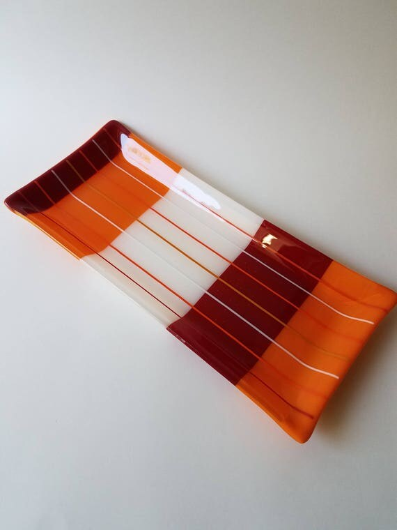 Deep Red, Orange and White Glass Serving Dish