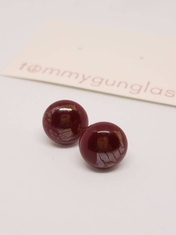 Deep Red Iridescent Glass Stud Earrings