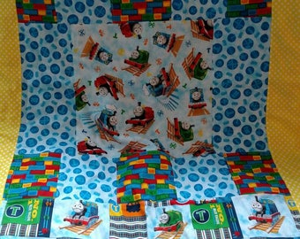 """Thomas the Train Baby Patchwork Quilt Blanket with fleece reverse . 36"""" by 41"""""""