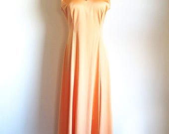 1/2 Off SALE Vintage 70s Orange Gown,  Bias Cut Maxi Dress, Long 1970 Dress