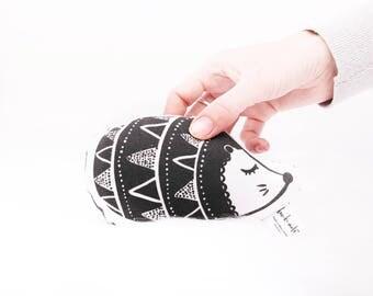 Echidna Baby Rattle - Softie Rattle - Bespoke handmade - Sleepy eyes - Porcupine - Black + White - Super soft knit fabric - Gentle noise