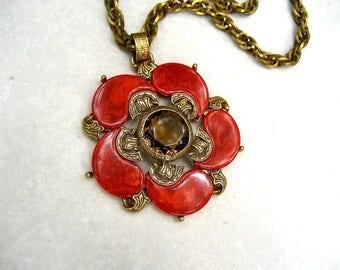Vintage Signed ART Necklace Red Orange Bakelite Paisley Flower Topaz Crystal Pendant