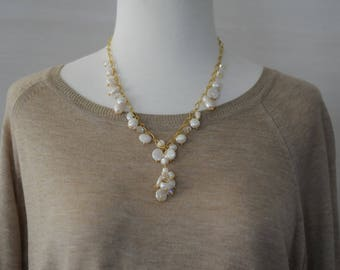 SALE - Lariat, Pearl Necklace, Dangle Coin Pearl Necklace, Gold chain and Pearl Necklace, Beaded Necklace, Gift for her