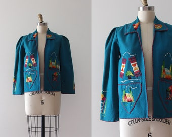 vintage 1940s Mexican jacket // 40s 50s embroidered Mexican souvenir jacket