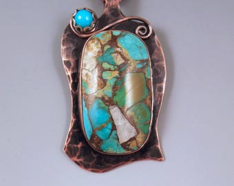 Kingman Turquoise and Sleeping Beauty Turquoise- Hammered Copper Pendant- Smoky Patina- Metal Art Turquoise Necklace