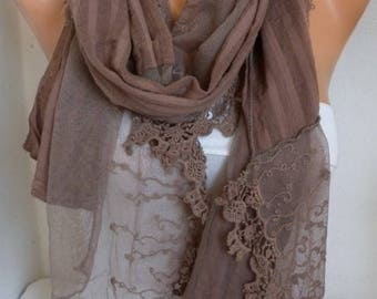 Milky Brown Lace & Cotton Shawl Scarf-wedding shawl,bridal shawl,Bridesmaid Gift-Gift for Her mom,birthday gift,Fashion Accessories