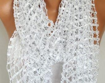 White Ribbon Scarf, Wedding Shawl,Bridal Scarf, evening wrap,Birthday Gift Bridesmaid Gift Gift Ideas for Her,Women Fashion Accessories