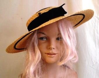 Vintage 1950s Cartwheel Hat Straw and Velvet Dolly Madison Label