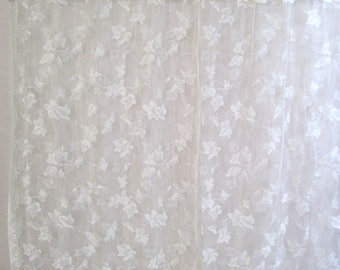 TWO Ivory Lace Curtain Panels-54 x 60 inches