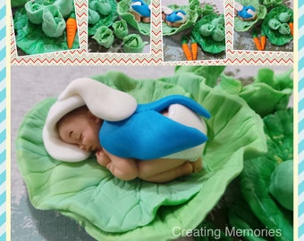 Baby Peter Rabbit Cake topper Set! Made of Vanilla Fondant  for BABY SHOWER, or Birthday celebration. Excellent choice for your cakes