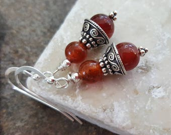 Red Agate Earrings, Bali Sterling Silver, Handcrafted, Gemstone, Handmade, Artisan, Womens't Gift, Red, Boho, Earthy, Rustic, Jewelry