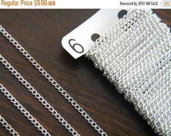 ON SALE 10ft Bright Silver Chain Silver Chain Twist Curb Chain 3.7 x 2.5 - B