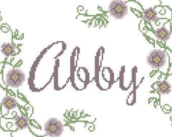 Name Cross Stitch Pattern/Cross Stitch PatternName/Cross Stitch Flower/Flower Cross Stitch Pattern/Cross Stitch Pattern/Floral Cross Stitch