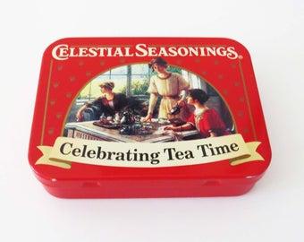 "Rare Mini CELESTIAL SEASONINGS TRAVEL Tin: Celebrating Tea Time / 3.25"" x 2.5"" x .75"" Collectible Tin 1980's - American made"