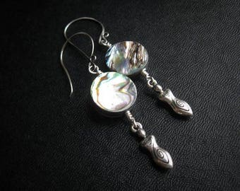 Cosmic Goddess Earrings. Sacred Feminine Abalone Earrings in Copper or Silver
