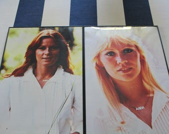 Vintage Pair of ABBA Large Poster Prints Wall Art 1980s