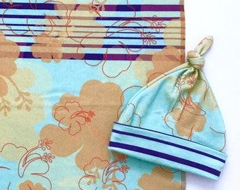 Hibiscus Newborn Girl Baby Blanket and Hat, Organic Cotton Swaddle Blanket, Beach Blanket, Eco Nursing Cover, Tropical Stroller Blanket