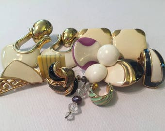 Vintage Gold 1980s Earrings Lot/ Junk Jewelry/ 14 Pieces/ Can be used in Altered Art, Destash Art, Re-Purposed Jewelry Art