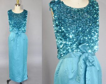 1960s silk satin gown | aqua blue sleeveless sequined dress | shimmery paillette top, bow detail XS