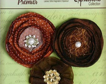 Fabric Flowers Chocolate Brown floral embellishments - Expressions petaloo 1607-038- layered fabric flowers with embellished centers