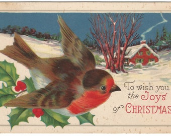 Cabin with Smoke from Chimney in Winter Wonderland Beautiful Snow Bird and Holly Vintage Postcard Christmas Greetings