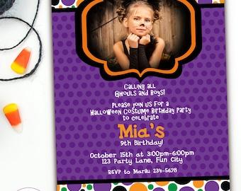 Kids Halloween Birthday Invitations, Halloween Invitation Kids, Halloween Kids Party Invitation, Halloween Costume Party Invites, Printable