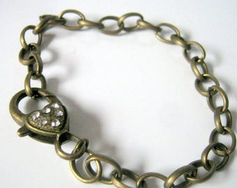 One Antique Bronze Rhinestone Lobster Clasp Bracelet, Jewelry Findings