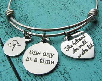 one day at a time bracelet, addiction recovery gift, na aa sobriety bracelet, mental health awareness, suicide prevention, survivor gift