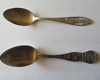 Antique Lot 2 Chicago Sterling Silver Souvenir Spoon Etched City Hall Courthouse 44g