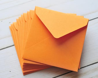 Mini Envelopes - Orange // Set of 10 // Blank Cards // Gift Card Envelopes // Enclosure Cards // Love Notes // Advice Cards // Autumn