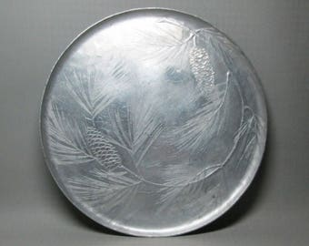 Wendell August Forge hammered aluminum tray pine cone design