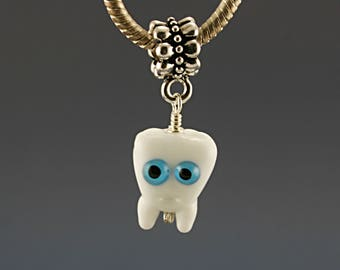 Halloween Tooth charm , tooth pendant , necklace , Glass lampwork big hole bead or BHB bead , charms bracelet ,european bracelet , jewelry