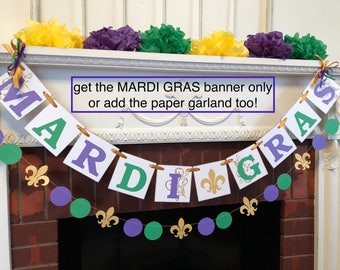 Mardi Gras Decorations- Mardi Gras Banner- Mardi Gras Party Decoration- Mardi Gras Party Banner- Fat Tuesday Decorations