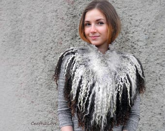 Felted wool locks fur neckwarmer, reversible felted collar, felted necklace, coffee brown, gray, black felt scarf, bald eagle