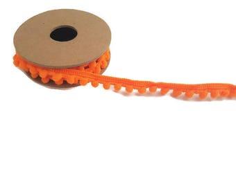 Pom pom trim ball orange ribbon by the yard elastic trim haberdashery tassel ribbon polyester craft ribbon pom pom