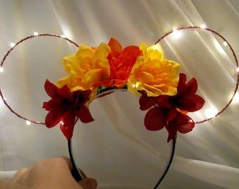Fall Flower LIght Up Mickey Ears