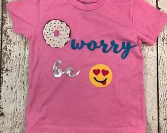 donut worry be happy, donut shirt, Donut party, donut birthday shirt, donut decor, donut invite, girl's birthday shirt, happy face, donut