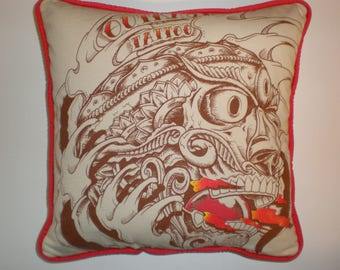 Upcycled Tattoo Shop T-Shirt Pillow