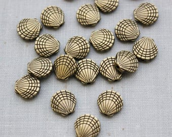 VACATION SALE- 9.5mm Antique Bronze Shell Beads - Nickel Free